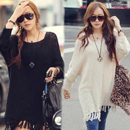 suéter cardigan de encaje negro Rebajas Las mujeres de moda mangas largas de murciélago suéteres sueltos borla especial Pullover Outwear mujeres de punto Tops envío gratis