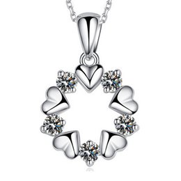 Wholesale Necklace Flower Short - Wholesale 925 Sterling Silver Necklace Sterling Silver Crystal Pendant Necklace female flowers and short necklace silver jewelry