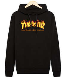 Wholesale Model Cotton - Europe and The United States Men Models Autumn and Winter Fire Hoodie Flame Sweatshirts