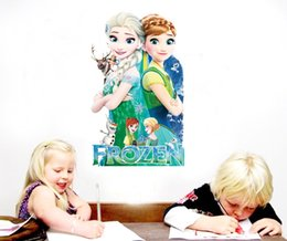 Wholesale Fever Stickers - Frozen fever Wall Stickers for Kids Rooms Removable Wall Decals Cartoon Elsa Anna Olaf Let It Go Princess Queen Stickers free shipping