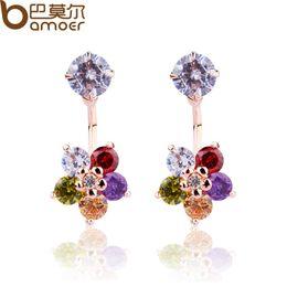 Boucles d'oreille en pierre en Ligne-Bamoer Luxury - Étoiles à cinq branches en or 18 carats avec zircon multicolore Stone Women Party Bijouterie JIE013