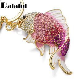 Wholesale Fishing Holders - beijia Exquisite Enamel Crystal Fish Key Chains Holder Goldfish Bag Buckle HandBag Pendant For Car Keyrings KeyChains K239