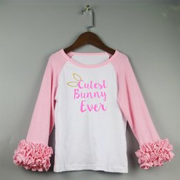 Wholesale Easter Shirt For Child - Easter T-Shirt For Kids Cutest Bunny Ever Child Gift Pink Ruffles Icing Raglan Long-Sleeve T-shirts For Girl