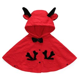 Wholesale Baby Wrap Brands - Baby Girls Hooded Cloak Winter Outfits Christmas Reindeer Poncho Mantle Wrap Coat