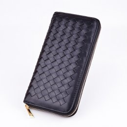 Wholesale Leather Business Card Wallet Price - Wholesale- 2016 PU Leather Purse Knitting Men's Clutch Wallets Bags Business Carteras Men Dollar Price long design men bag gift for men