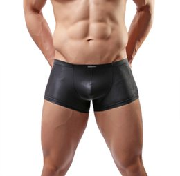 Wholesale Sexy C Boxers - Fashion Sexy Lingerie Men's Underwear Elastic Soft Faux Leather Boxers Briefs Swimming Trunks C 33 Black Free Shipping
