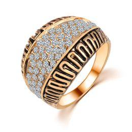 Wholesale Costume Gemstone Rings - Wedding Rings Men Woman Korean Fashion Jewelry Silver 18K Rose Gold Plated Costume Jewelry Cubic Zirconia Rhinestone Crystal Gemstone Rings