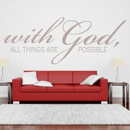 Wholesale wall art for nursery - With God All Things Are Possible Quote Wall Sticker Religious Vinyl Wall Art for Room Decor