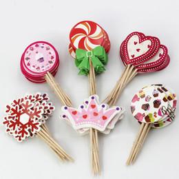 decorazioni Sconti Birthday Cake Topper Picks 48 Assorted Muffin Cupake Decor Card Sticks Accessori di cottura Decorazione di torte SD824
