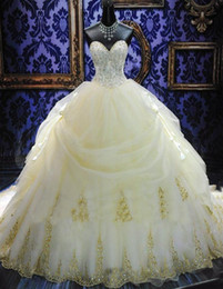Wholesale Ballgown Wedding Dress Sweep Train - Deluxe ! Sweetheart Strapless BallGown Beaded Applique Lace up Back Ruffles Royal Wedding Dresses 2015 Plus Size Custom