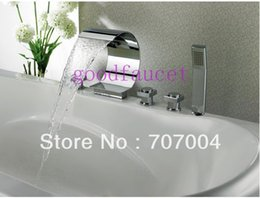 Wholesale Waterfall Tub Faucet Polished Brass - Roman Chrome Finish Solid Brass Waterfall Bath Tub Faucet Mixer Tap With Hand Spray Shower Water Tap Hot And Cold Tap For Deck