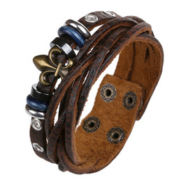 Wholesale Wholesale Jewelry Leather Braclets - Fashion Braided Top Leather Wrap Bracelet Men Brown Cowhide Woven Bracelets Bangles Jewelry Male Braclets Pulseira Masculino Homens