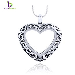 Wholesale Glass Heart Lockets - 5PCS !! Silver Heart magnetic glass floating charm locket Zinc Alloy 27.5x27mm (chains included for free) LSFL07-1*5