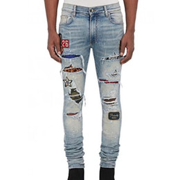 Wholesale Men Pants Brand - 2017 High Quality AMIRI JEANS Brand SRPING BIKER DENIM Stripe JEANS MEN LOS ANGELES STREET FASHION Hole AMIRI BLACK JEANS SLIM SKINNY PANTS