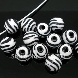 Wholesale Striped Acrylic Spacer Round Beads - Free Shipping 50 Pcs Zebra Striped Acrylic Spacer Round Beads 11mm Dia. (W01859X1)