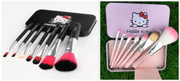 Wholesale Hello Cases - Hello Kitty Make Up Cosmetic Brush Kit Hello kitty Makeup Brushes Pink and black Iron Case 7pcs set DHL free shipping