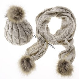 Wholesale faux fur sets - Wholesale-Stylish New Women Ladies Knitted Winter Warm Faux Fur Ski Hat Scarf Set