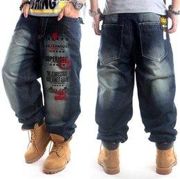 Wholesale Men Blue Jeans Size 36 - Plus Size hip hop baggy jeans men Letter Print hip hop dance pants Skateboard Jeans Loose Style most popular jeans for men