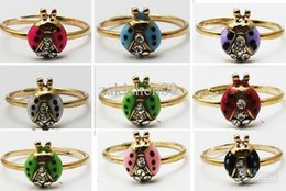 Wholesale Toe Rings Stones - 12PX(1pack) Free shipping Ladybug Ladybird Crystal Toe Ring Ring Mixed Color Wholesale Lot