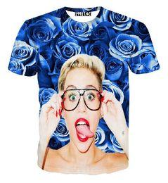 FG1509 New fashion 2015 uomo / donna maglietta 3D stelle divertenti miley cyrus stampa rosa t-shirt floreale estate casual cool tops vestiti da