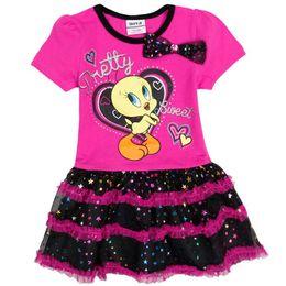 Wholesale Hoot Kid - Wholesale- 2017 New Fashion Prinetd Hoot Cartoon Cotton PatternWith Bow And Star Hemline Summer Girl Dresses Nova kids Clothes Retail H4710