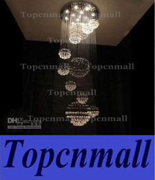 Wholesale Led Pendant Sphere Lights - H200cm New Spiral Sphere Crystal Pendant Light Ceiling Lamp Chandelier Lighting