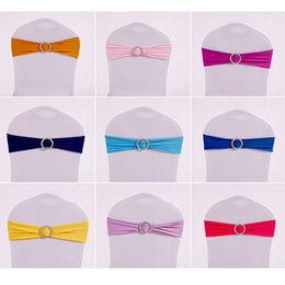 Wholesale Spandex Chair Cover Buckles - Colorful Spandex Chair Sashes With Round Buckle Crown Heart Shape Chairs Cover Sash For Wedding Party Supplies 1 3xy B