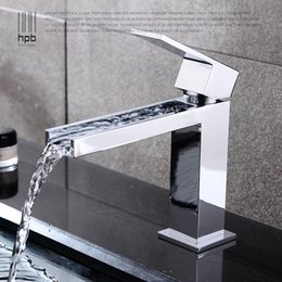Wholesale Waterfall Basin Mixers - Han Pai Brass Waterfall Bathroom Faucet Hot and Cold Water Tap Basin Mixer torneira HP3006