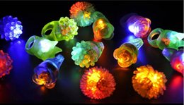 Wholesale Led Multicolor Glow Lights - New Arrival LED Ring Light Ring Flash Mitts Cool Led Light Up Flashing Bubble Ring Rave Party Blinking Soft Jelly Glow Party Favor
