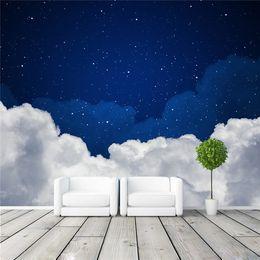 Wholesale Girl Studies - Night sky Photo Wallpaper Galaxy wallpaper 3D Charming Clouds & stars Murals Kids Girls Bedroom Living room decor Art Design Home Decoration