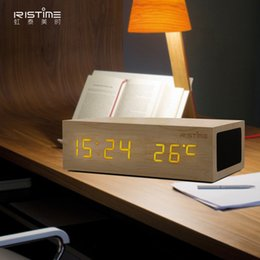 Wholesale Mini Clock Temperature - Walnut Wooden Bluetooth Alarm Clock Stereo Speaker w  LED Time+Temperature Display+NFC+USB Charger+Handsfree bluetooth speaker with retail