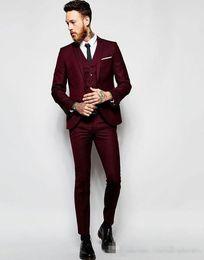 Wholesale White Pants For Men Cheap - Handsome Burgundy Wedding Tuxedos Slim Fit Suits For Men Groomsmen Suit Three Pieces Cheap Prom Formal Suits (Jacket +Pants+Vest)