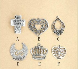 Wholesale Large Pendants Connectors - 50Pcs Lot Large Size DIY Tibetan Silver Flower Charms Pendants Findings Connectors For Necklace Earrings Jewelry DIY 2016 March New Style