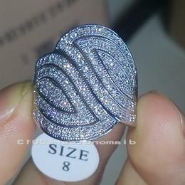 Wholesale White Topaz Stones - Hiqh quality Size 6 7 8 9 Jewery Luxury 140pcs stones 10kt white gold filled white topaz Gem Wedding Women ring for love gift