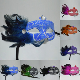 Wholesale Celebrity Wedding Dresses For Cheap - 2016 Eye Venetian Masquerade Masks Carnaval Feather Halloween Ball Party Fancy Dress Costume Valentine Day Birthday Christmas Cheap In Stock