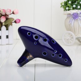 Wholesale Instrument Sales - Legend of Zelda Inspired Blue Ceramic  Clay Ocarina of Time 12 Holes Alto C Flute Orcarina For Sale, Occarina Musical Instrument