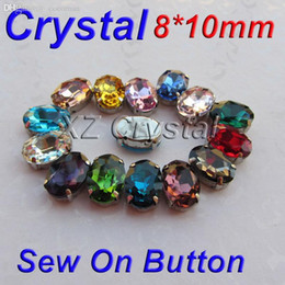 Wholesale Fancy Oval Rhinestones - Wholesale-100pcs lot 8*10mm Mix Color Crystal Rhinestones Oval Fancy Glass With Metal Claw Settings Sewing On Button Accessories