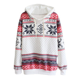 Wholesale Long Christmas Jumpers - Wholesale-New Jumpers Womens Fashion Women Snowflake Print Long Sleeve Pullover Knitted Sweater Female Christmas Sweaters