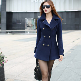 Wholesale Ladies Double Breasted Wool Coat - New 2015 women winter wool coat women's double breasted coats ladies long blue red camel woollen jacket female plaid overcoats