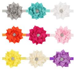 Canada Enfants européens et américains tête bande de cheveux fleur double lotus feuille paragraphe diamant bandeau bébé bande de cheveux 13 couleurs 20pcs cheap flower lotus orange Offre