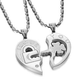 Wholesale Hearts Necklace Pendants Couple - stock hot sale high quality Korean fashion jewelry titanium steel diamond key puzzle couple lovers pendant necklace