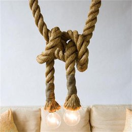 Wholesale Thick Ropes - DIY Pendant light Loft Nordic American Country Thick Hemp Rope Chandelier Creative Personality Edison Retro Nostalgia Decorative Chandelier