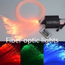 Wholesale Led Rgb Light Engine - Optic Fiber Light LED Multi-Color Fiber Optic Star Ceiling Light Kit 2M 0.75mm 300pcs Optics Fiber+16W RGB Light Engine+24Key RF Remote