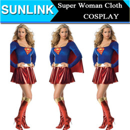 Wholesale Sexy Costume Super - 2015 Fashion Sexy Supergirl Superwomen Superman Superhero Adult Halloween Costume Cosplay Party Club Dress Uniforms DHL Free