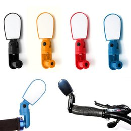 Wholesale Handlebar Mirrors - High Quality MTB Bike Bicycle Cycling Rear View Mirror Glass Adjustable Mini Small Iron Handlebar Bar Yellow Black Red Blue
