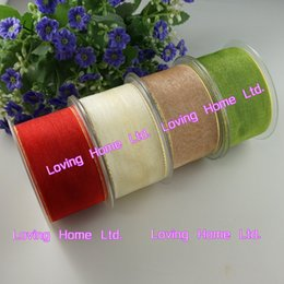 """Wholesale Craft Beige Ribbon - 27Yards 1.5""""(38mm) Green Red Ivory Organdy Ribbon with Gold Edge Organza Trim Wedding Sewing Craft Bow Hair Garment Accessory"""
