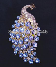 Wholesale Rhinestone Lilacs Brooches - 4.3 Inch Gold Plated Extra Large Lilac Rhinestone Crystal Diamante Peacock or Phoenix Brooch without Pin