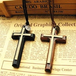 Wholesale Cross Leather Cord - Xmas gifts Double alloy wooden Cross pendant necklace vintage sweater chain Leather cord men women jewelry handmade stylish 12pcs