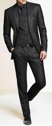 Wholesale Grey Bespoke Tuxedo - Men Slim Fit Suits Custom Made Charcoal Grey Groom Suit, Bespoke Tailor Wedding Suits For Men, Mens Wedding Tuxedos Suits h67