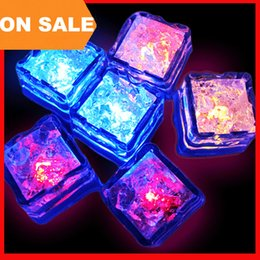 Wholesale Decorative Flashing Led Light - Aoto colors Mini Romantic Luminous Cube LED Artificial Ice Cube Flash LED Light Wedding Christmas Decoration Party 200004